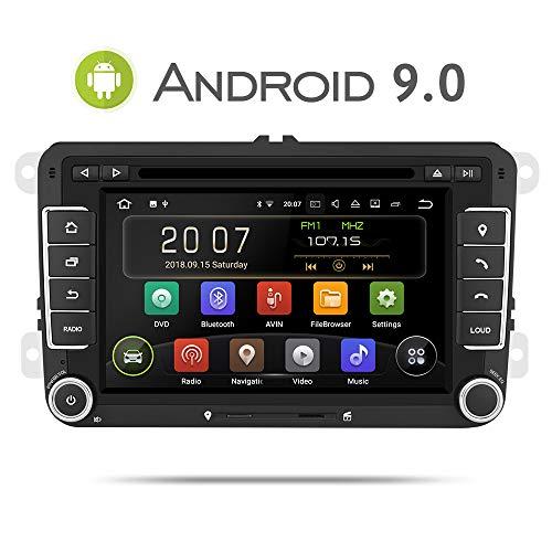 Aumume 7 Zoll Android 9.0 Autoradio für VW Golf Passat Polo Tiguan Jetta Skoda Fabia Yeti Seat mit Navi Unterstützt Mirrorlink Carplay Bluetooth DAB+ (mit 16 GB Karte) - Carplay-radio