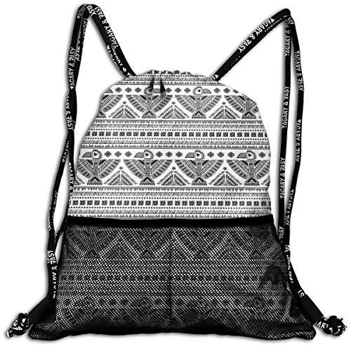 Little Giant Tank (RAINNY Drawstring Backpacks Bags,Ethnic Primitive Tribal Art Pattern with Eagle Symbol Mystic Culture Folk,5 Liter Capacity,Adjustable)