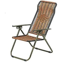 Sedia pieghevole QFFL Lounge Chair bambù Adulto Intrecciato a Due posti reclinabile Poltrona da Ufficio per sedie a Sdraio per Il Tempo Libero Sgabello per Esterni