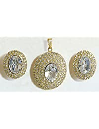 DollsofIndia White Stone Studded Oval Shaped Pendant And Earrings - Stone And Metal (AS71-mod) - White