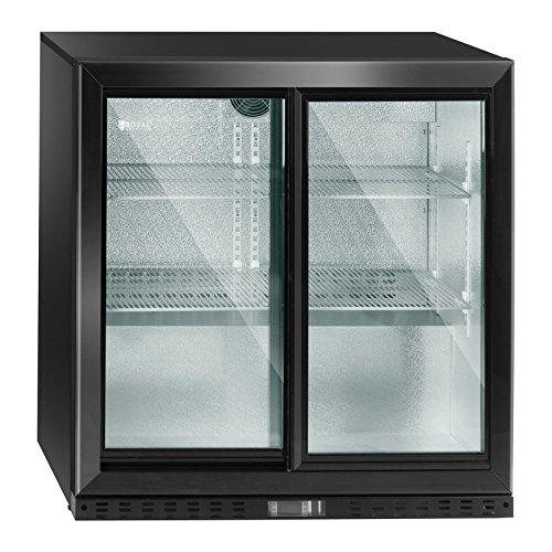 Royal Catering Flaschenkühlschrank Getränkekühlschrank mit Glastür RCGK-B208-2 (208 L, 340 W, 4 Einlagen, verschließbare Schiebetür, Temperaturbereich 4–8 °C) (Schiebetüren Mit Kühlschrank 2)