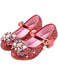 muium Kids Girls Low Heel Pearl Crystal Bling Bowknot Single Shoes Wedding  Party Prom Dancing Ballroom Latin Shoes Sandals for 3-14 Year… 58004a1ca1e7