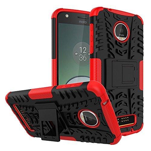 Moto Z Play Schutzhülle, Moto Z Play Droid Fall, Moment dextrad [mit Integriertem Ständer] [Rutschfeste] [Dual Layer] [stoßfest] [Staub/Kratzer Proof] (Moto Z Play Hybrid Ganzkörper Fall), Rot