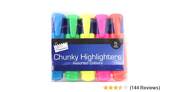 Genuine Assorted Mixed Colours Highlighters Markers Pack of 4 School Study Pens