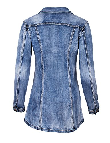 Fraternel Damen Jacke Mantel lange Jeansjacke talliert Denim Jacket Blau
