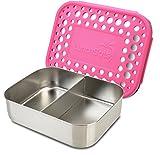 LunchBots Lebensmittelbehälter Aus Edelstahl – Design Mit Zwei Bereichen – Ideal Als Snackbox Oder Um Ein Halbes Sandwich Und Eine Beilage Einzupacken Geeignet – Umweltfreundlich, Spülmaschinenfest Und BPA-Frei – Rosa Gepunktet