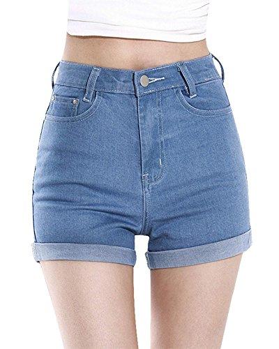 ORANDESIGNE Mujeres Verano Boyfriend Cintura Alta Retro Shorts Pantalones  Cortos de Mezclilla Vaqueros Cortos Hot Jeans eea0816cd99