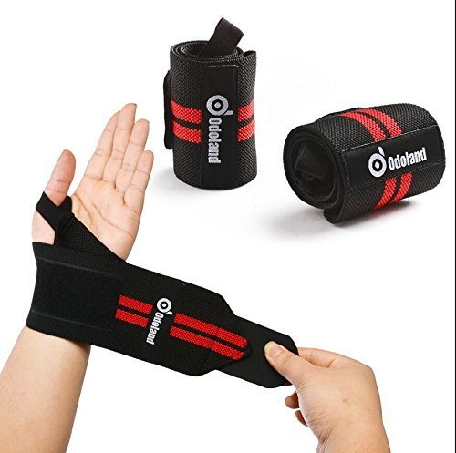 """Wrist Straps (18,5 """") ODOLAND supporto regolabile Bretelle sposta la cinghia Protector Powerlifting, Bodybuilding, sollevamento pesi da polso Supporti per allenamento con i pesi - per uomini e donne"""