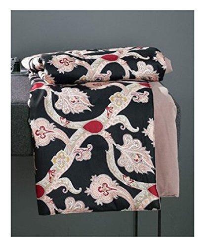 Zucchi plaid » mugal « copriletto, coperta per divano opulento motivo floreale hochwertige mako satin dimensioni: 135x 190cm v7in nero