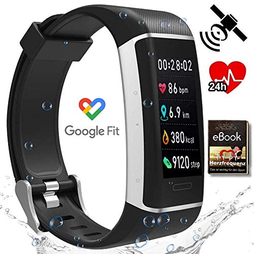BerryKing© Run-GPS 2020 - KRANKENKASSEN Bonus mit Google FIT - Herzfrequenz Armband Tracker 24 Sportarten Wasserfest Fitness Aktivität Schrittzähler Kalorien Herzfrequenz-Messer Schlaf-Analyse Wetter