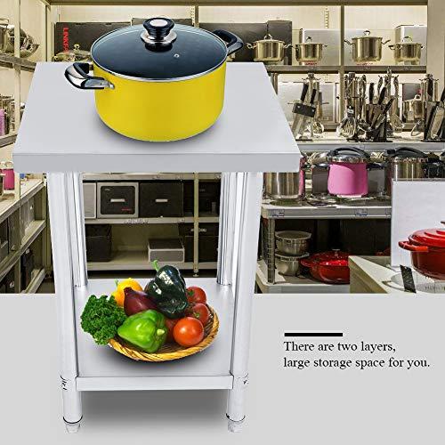 GOTOTO Küchentisch Professioneller Küchentisch aus Edelstahl Küche Catering Werkbank Küche Doppelbett Höhenverstellbar