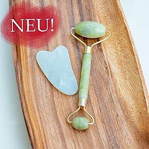 ONFIT Jade Roller Massagegerät mit Gua Sha Pad   Gesichtsmassage   Beauty Jade Gesichtsroller für Anti-Aging incl. Bedienungsanleitung & Anti Aging Guide + GRATIS eBook!