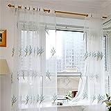LianMengMVP Voilage Blanc Transparent en Effet Lin Rideaux Voile Passe Tringle Brodé Motif Geometrique pour Decoration Chambre Bebe