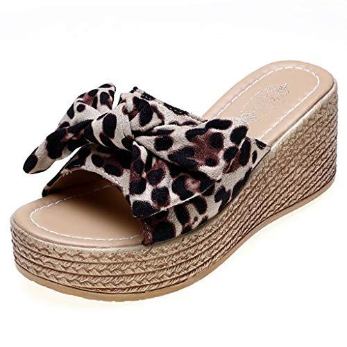 MakefortuneWomens Ladies Mid High Wedge Heel Peep Toe Pantoletten Plateausandalen Flip Flops mit Leopardenmuster Größe