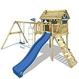 WICKEY Stelzenhaus Smart Plaza Baumhaus Spielturm mit Rutsche, Spielhaus und Schaukel, blaue Rutsche + blaue Plane