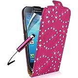 Supergets® Hülle für Samsung Galaxy S4 Mini I9190 Geblümt Kunstledertasche in Lederoptik Diamantiert Hülle, Displayschutzfolie