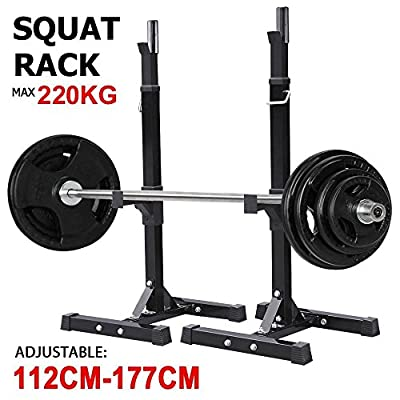 Popamazing Adjustable Heavy Duty Squat Rack Stand Power Weight Bench Support for Curl Barbell Olympic Barbell Free Press Bench Black from Popamazing