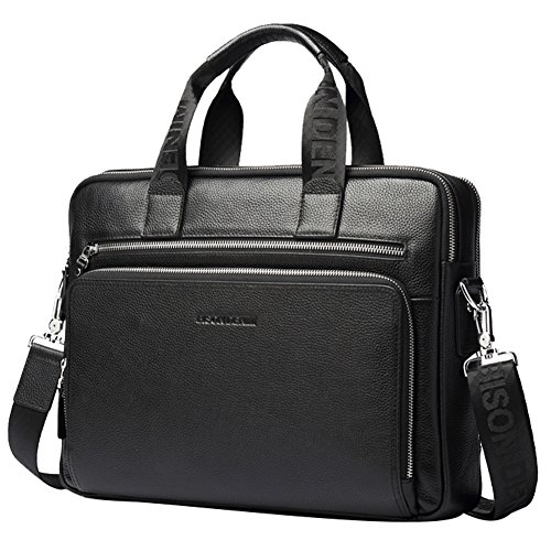 BISON DENIM Herren klassische Leder Aktenkoffer Laptop Schulter Messenger Bag Business Tote Schwarz(passt 15-17 zoll laptop) (Tote 17zoll Laptop)