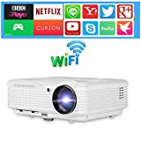 LED Wireless WiFi Home Projector HD WXGA 4500 Lumen Multimedia Smart TV Projector Android Video Proyectors HDMI USB VGA RCA Audio AV, Compatible with DVD PC Laptop Smartphone Xbox Wii Game Console