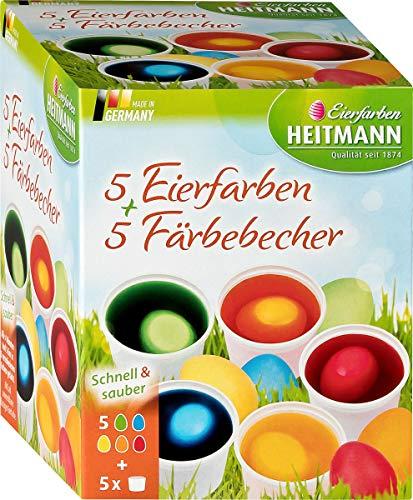 5 Eierfarben + 5 Färbebecher - 5 flüssige Kaltfarben - für EIN buntes Osternest - grün, gelb, blau, rot, orange ()