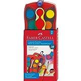 Faber-Castell 125029 - Farbkasten Connector mit 24 Farben, inklusive Pinsel mit Soft-Touch-Griffzone