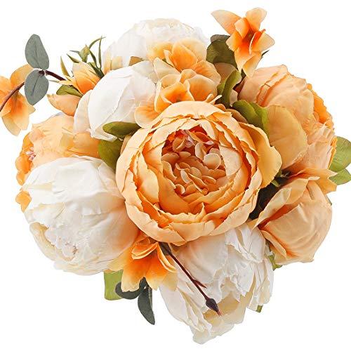 �nstliche Pfingstrose Seidenblumen Bouqet für Zuhause Hochzeit Party Dekoration Orange ()