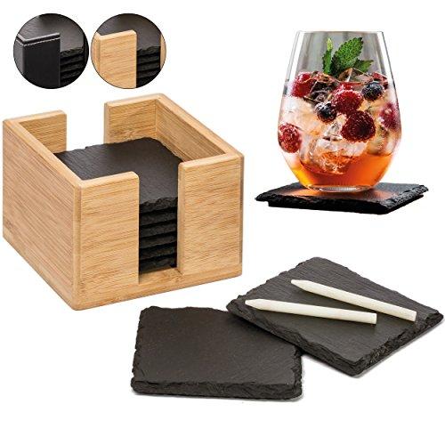 8er Set Glasuntersetzer aus Schiefer - Premium Schieferplatte als Glas Topf Untersetzer in edler Holzbox - Schiefertafel Servierplatten von FITERIO