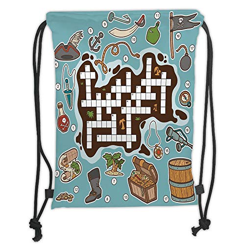 GONIESA Drawstring Sack Backpacks Bags,Word Search Puzzle,Kids Cartoon Game Grid Numbers Finding The Right Words Pirate Icons Decorative,Multicolor Soft Satin,5 Liter Capacity,Adjustable String (Word Search Halloween)