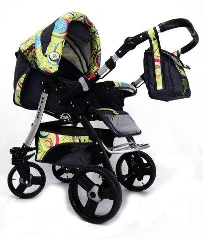 Best For Kids Prince Pram/Stroller different colors  Huge children's car set from Best For Kids. This package leaves nothing to be desired and will accompany you and your child from infancy. Included are a baby tub attachment and a sports seat (buggy). The individual attachments can be changed in seconds. The ingenious design is easy to use. Because of the low weight and size you can stow this stroller very easily in the car. Security has priority! With this combi-van you are always on the safe side. The Best For Kids stroller fulfills the European safety standard EN1888. This specifies safety requirements with regard to materials, construction and stability. Great colors - modern construction. This Best For Kids stroller is not only extremely versatile, it is also an absolute eye-catcher. The modern color scheme in combination with the large tires (to choose from 3 sets of wheels, also air bikes for 25 EUR surcharge) on the chrome rims provides a beautiful look. 1