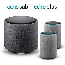 Echo Plus Stereo System – 2 Echo Plus (2.ª generación), Tela de color gris oscuro + 1 Echo Sub