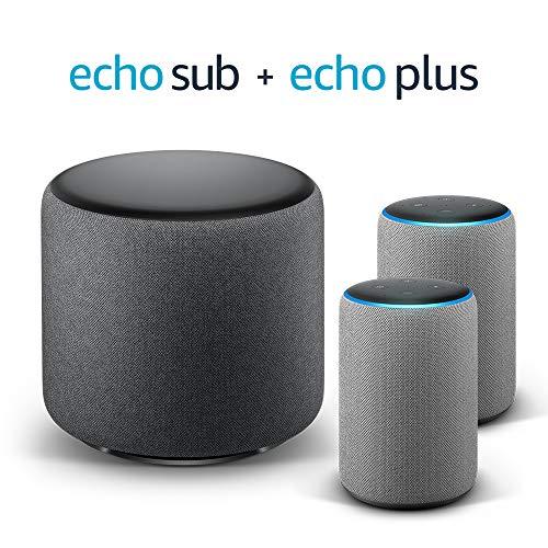 Echo Plus Stereo System – 2 Echo Plus (2ª generazione), Tessuto grigio...