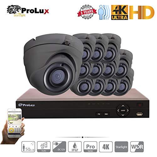 ProluX Überwachungskamera, 5 MP, 4 K Auflösung, 4 Kanäle, 8 Kanäle, 16 Kanäle, DVR NVR (6 TB) Festplatte mit 12 LTS Outdoor 5 Megapixel 50 M IR Nachtsicht Überwachung Unterstützung 12/24 IP 8 MP - Lorex-security-kamera