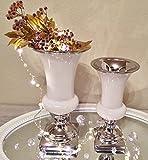 2er Set TRUMPET Keramik Vase Weiß Silber Trompetenvase Blumenvase Deko Shabby