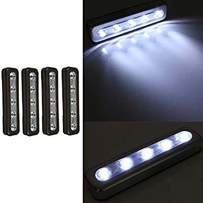 4 Pack Black Tap Lights 5-LED Self-Stick Under Cabinet Push Night Light Lamp Closet Light lamp 178mmx47mmx23mm produced by BSD Brands (UK) - quick delivery from UK.