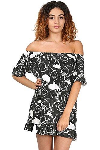 Oops Outlet Damen Schulterfrei Bardot Rüsche Schößchen Kurzärmlig Minikleid T-Shirt Top Übergröße UK 8-26 - Schwarz Totenkopf Rosen, Übergröße (EU 44/46) (Slv Lange Top Shirt)