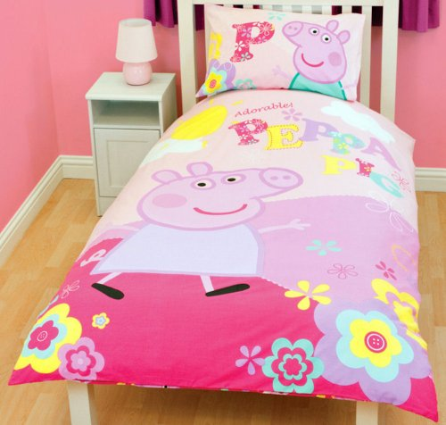 Linon Bettwäsche Peppa Wutz Pig - Adorable 135 x 200 cm + 80 x 80 cm - Neu & Ovp - 100{5d4f273aa0ac832a0c924d669837fc587412d8ce6c1444530eac170c961212e1} Baumwolle - deutsche Größe