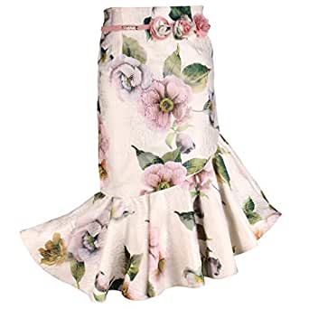 Cutecumber Girls Organza Floral Print Cream Below Knee Length Skirt-(SK-2067B-Cream-22)
