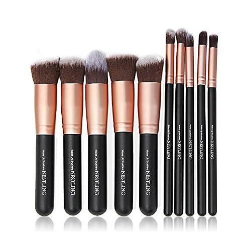 CDC® 10Pcs Make-up Pinsel Professionelle Foundation Blending Eyeliner-Schatten-Puder Kosmetik Pinsel (Schwarz + Rose Gold)