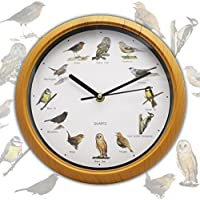 Reloj de pared analógico a pilas con 12 cantos de pájaro