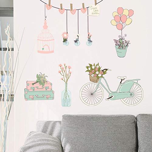 angepasst werden, Größe, Farbe, DIY-Muster】Blumen Float Ballon Wandaufkleber Bouquet Fahrrad Stamm Birdcage Topf Schrank Schlafzimmer Schrank Tv Wanddekoration Aufkleber ()