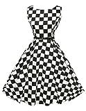 Damen 50er jahre kleid sommerkleider knielang partykleid rockabilly kleid Größe XS CL6086-10