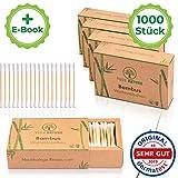 DERMATEST: SEHR GUT - TRUE NATURE® [1000 Stück] Zero Waste Bambus Wattestäbchen - Q Tips ohne Plastik - Cotton Buds - 100% biologisch abbaubar +Ebook