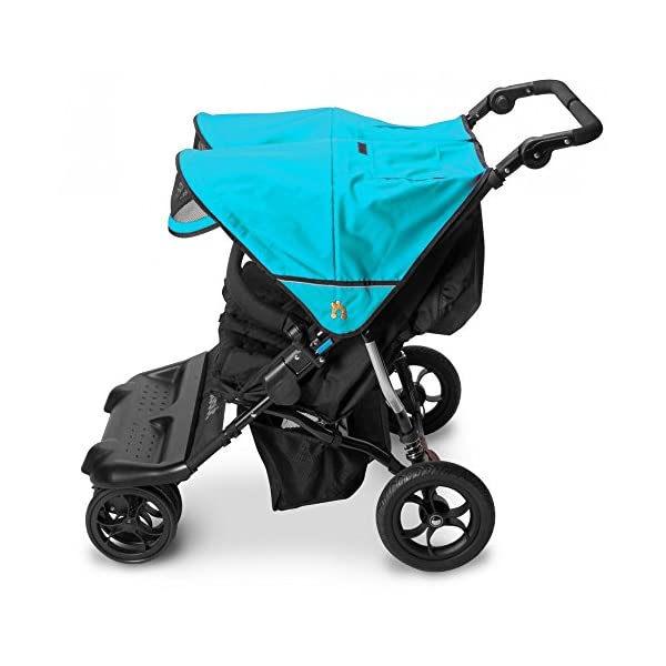 Out n About Little Nipper Double Stroller Marine Blue  Little Nipper Double (Marine Blue) by Out n About - Lightweight twin buggy at only 11kg and suitable for use from Birth Multi-position reclining seats with padded liners and 5-Point harness Independent rear and front wheel suspension with front swivel lock 3