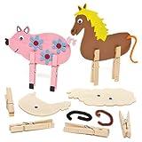 Tierfiguren mit Wäscheklammern aus Holz für Kinder zum Basteln