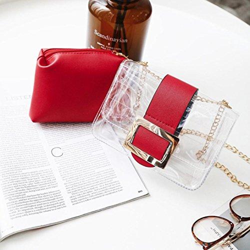 Kword Donne Trasparente Borse Caramelle Colori Box Impermeabile Messenger Borse Spalla Borse Rosso