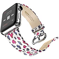 Watch Ban - HOCO Leather Strap Classic Buckle Watch Band Adapter For Apple Watch 38MM Pink
