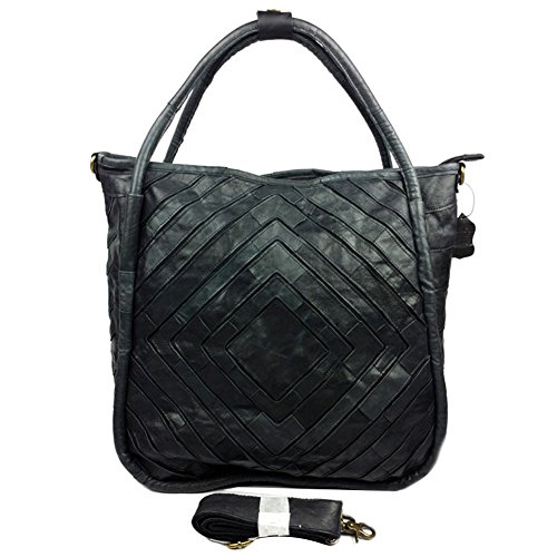 Genda 2Archer Nuovo Patchwork Style Da donna Pelle annata Borsa a tracolla borsetta Tote Top-handle Purse (Nero) Nero