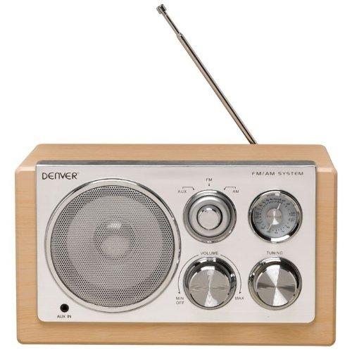Denver Designradio Holzdesign Radio Tuner AUX tragbar Batteriebetrieb TR-61 Lightwood