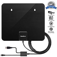 HD TV antenna, Fuleadture 96,6km Range 1080p indoor Digital Freeview TV analogica antenna Paper Thin con USB cavo di alimentazione staccabile amplificatore di segnale booster e 3m cavo coassiale