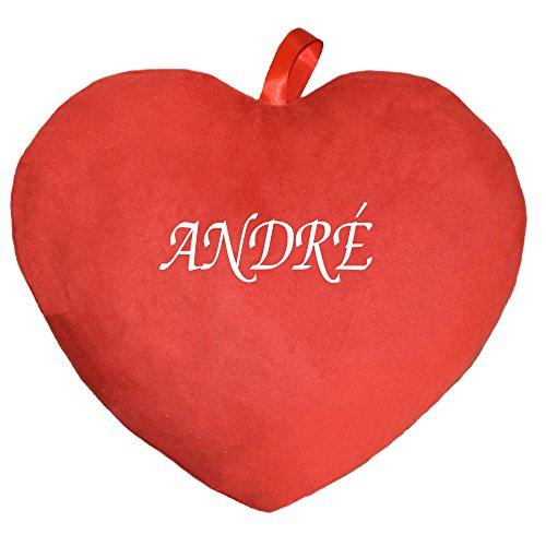 Herzkissen Kissen bedruckt mit Vornamen André rot (Bikini Andres)